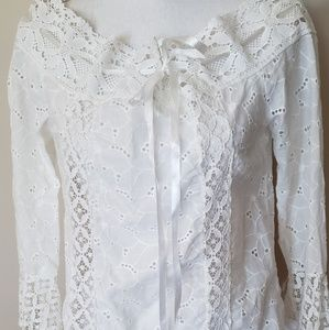 Tops - Off the shoulder white lace top